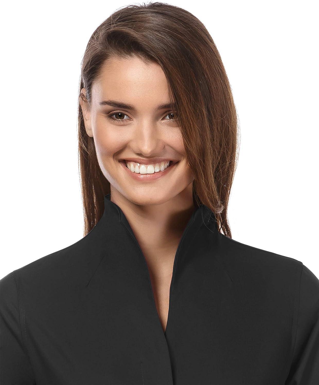 agr/éable /à Porter Tissu Infroissable et Respirant Manches Longues Vincenzo Boretti Chemisier Femme col Calice l/ég/èrement cintr/é uni 100/% Coton