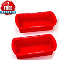 LVKH Silicone Bread and Loaf Pans - Includes 1 Bonus Muffin Pans - (3 Piece Non-Stick Bakers Set)
