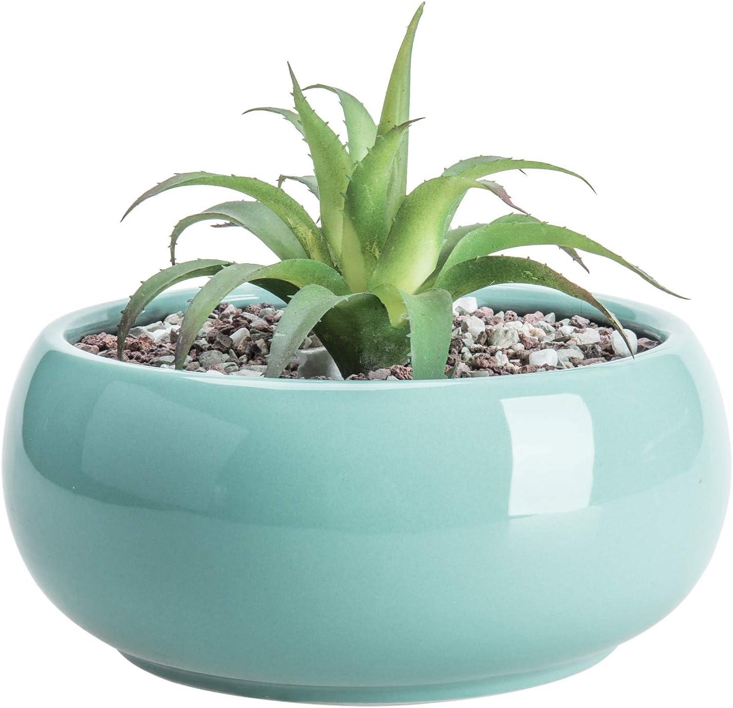 MyGift 7.5 Inch Round Aqua Blue Glazed Ceramic Succulent Planter Pot