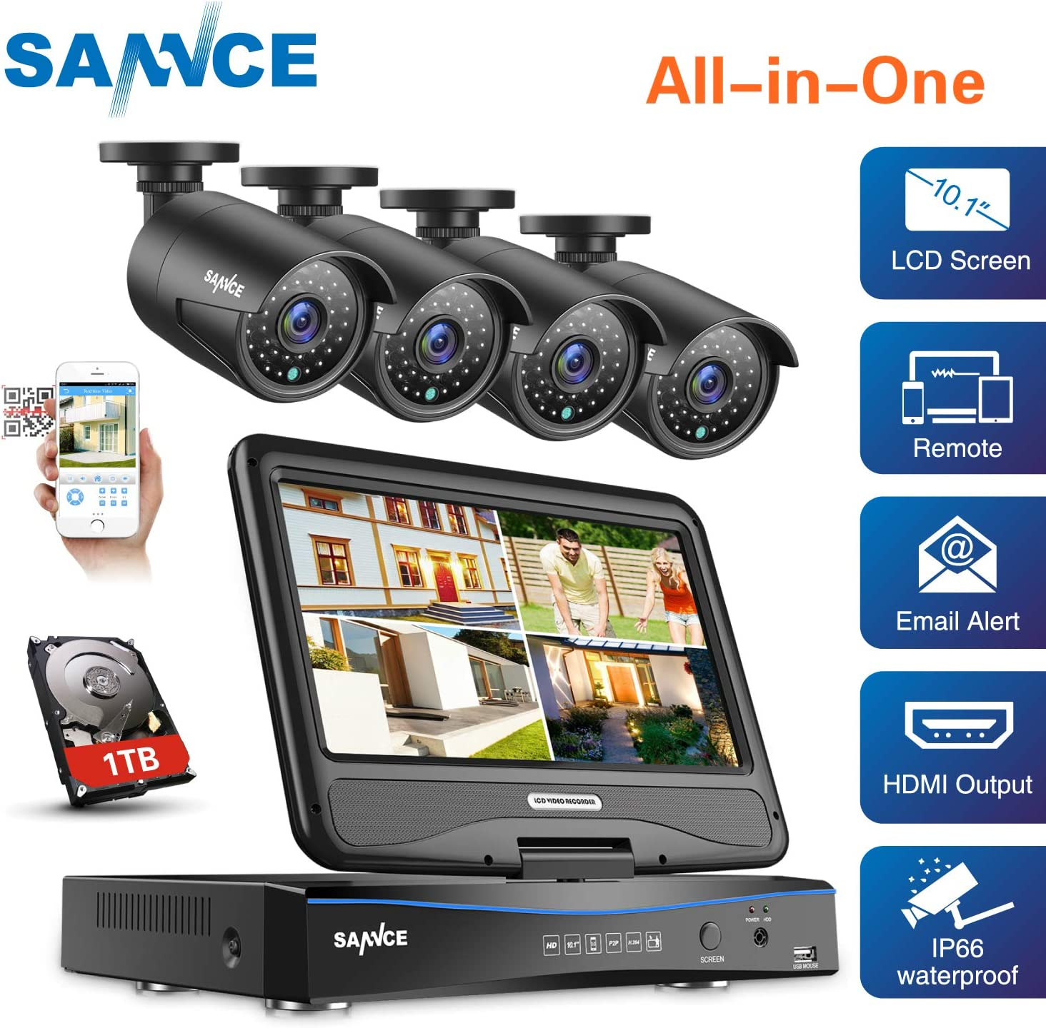 True All-in-One Home Security Camera System with Built-in 10.1 LCD Monitor,SANNCE 4CH 1080P Surveillance DVR Recorder with 4Pcs Metal 120ft Night Vision Cameras, Easy Remote Access,1TB HDD Included