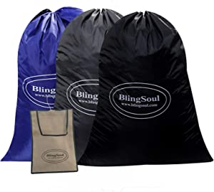 3 Pack Large Travel Laundry Bags - Dirty Clothes Bag, Travel Drawstring, Rip-Stop Large Laundry Hamper, Heavy Duty, Machine Washable Grey, Blue, Black, 1 Pcs Clothes Pins Bag