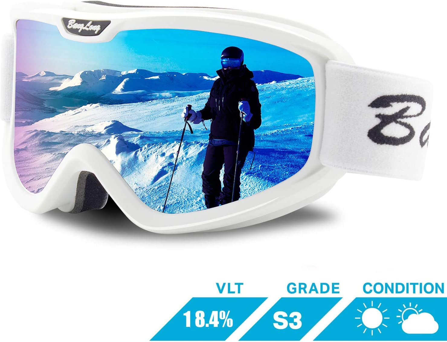 BangLong Ski Goggles, Anti Fog Snow Goggles Over Glasses OTG Snowboard Goggles for Men Women Youth 100% UV Protection Windproof Dual Lens for Skiing Skating Outdoor Sport