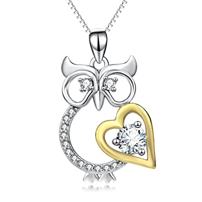 Amazon angel caller night owl heart with clear crystal women angel caller night owl heart with clear crystal women men sterling silver pendant necklace jewelry mozeypictures Choice Image