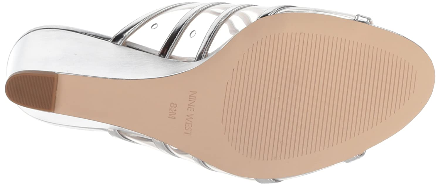 Nine West Women's Jesty Synthetic Wedge Sandal B076HMPFKY 8 B(M) US|Silver