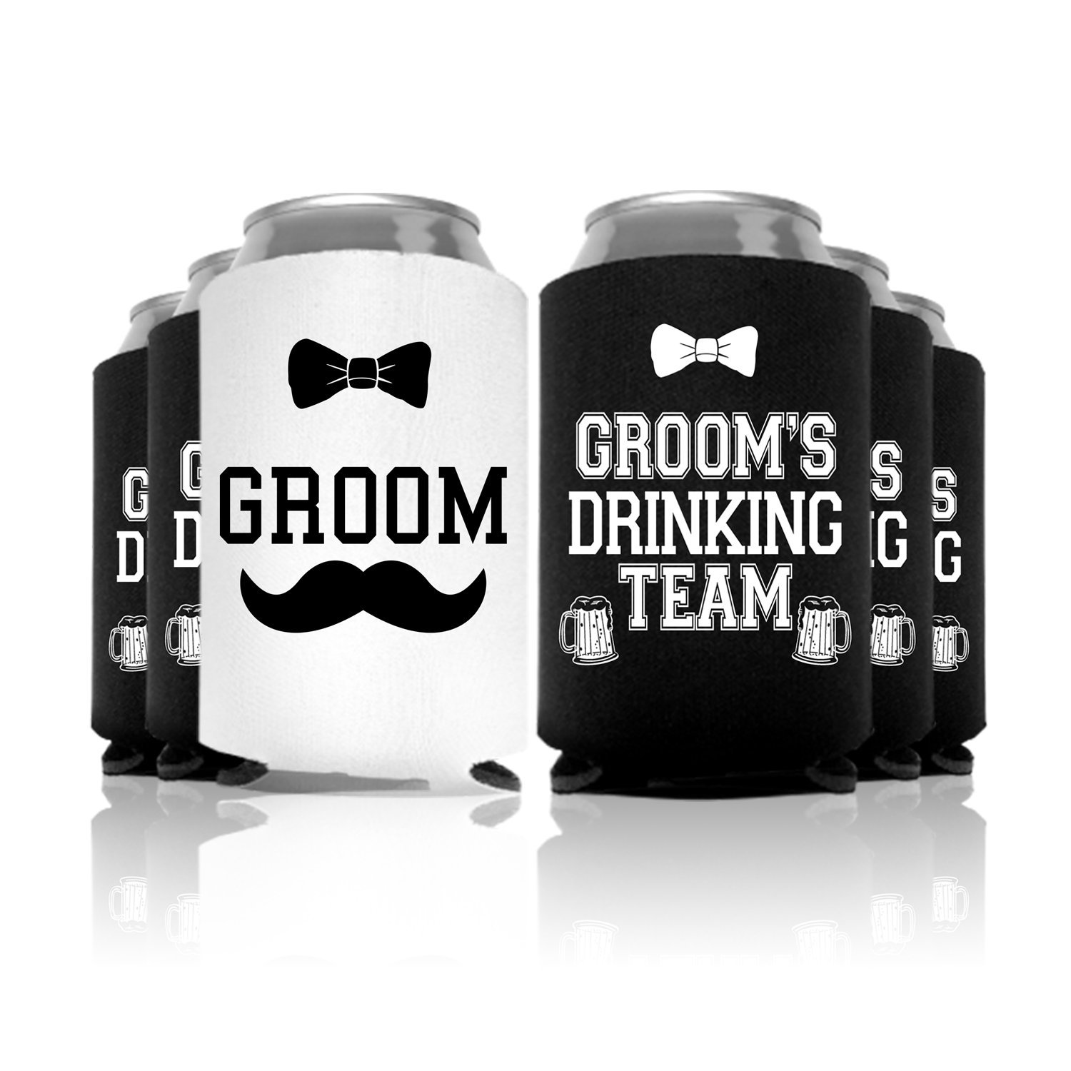 Groom's Wedding Special Can Coolers Bachelor Party Favor''Groom's Drinking Team'', Black, 6 Pc.
