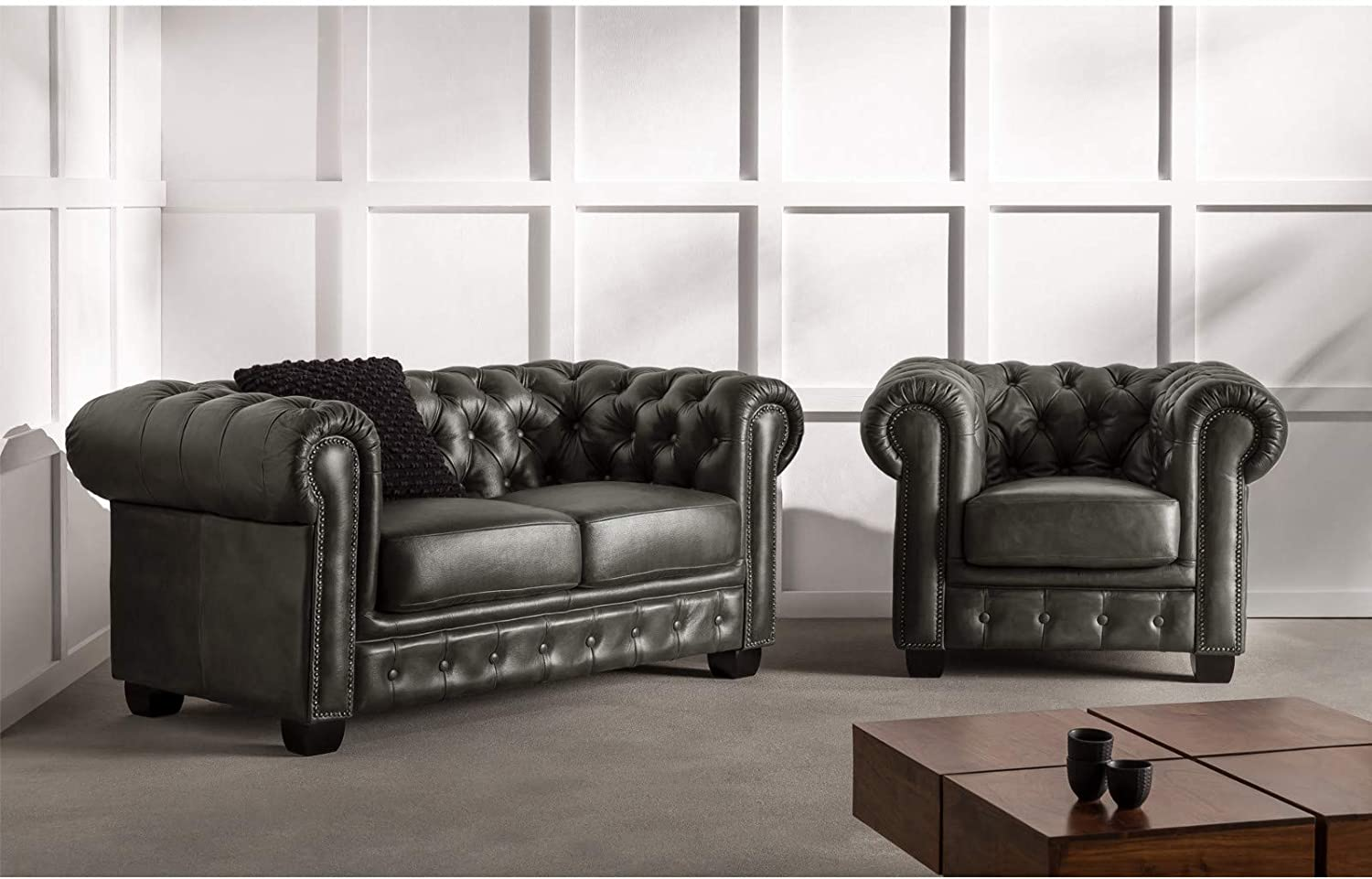 Woodkings® Chesterfield Sofa Set Grey 10+10+10 Vintage Real Leather ...