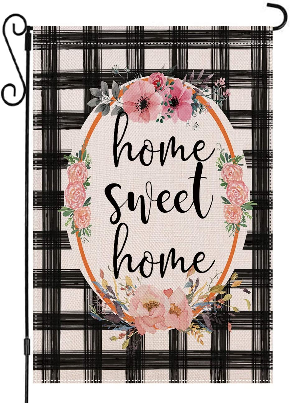 AUOIKK Home Sweet Home Garden Flag Flowers Wreath Garden Decoration Vertical Double Sided 12.5 x 18 Inch, Farmhouse Flag Watercolor Buffalo Check Plaid Sign Yard Patio Lawn Banner Outdoor Decoration