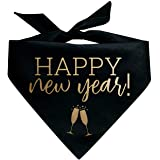 Happy New Years with Champagne Flutes Triangle Dog Bandana Black with Gold Print