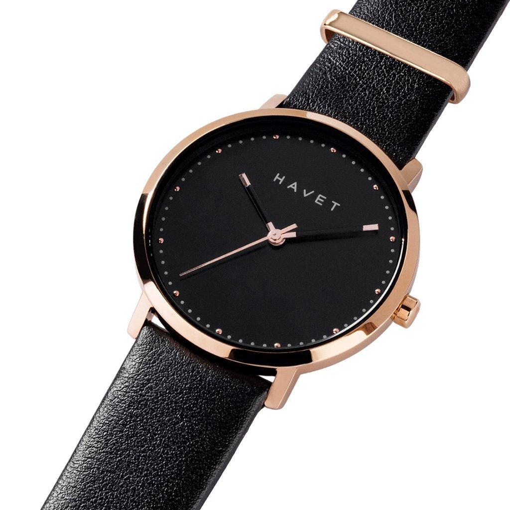 HAVET | Reloj de mujer Dyna de acero color oro rosa esfera negra y correa de piel negra: Amazon.es: Relojes