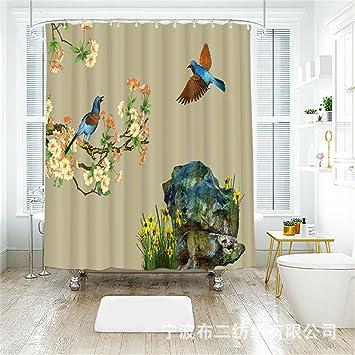 Chinesische Malerei Kunst Vogel 3D Digitaldruck Wasserdicht Duschvorhang,  Breite 165cmx Höhe 180cm