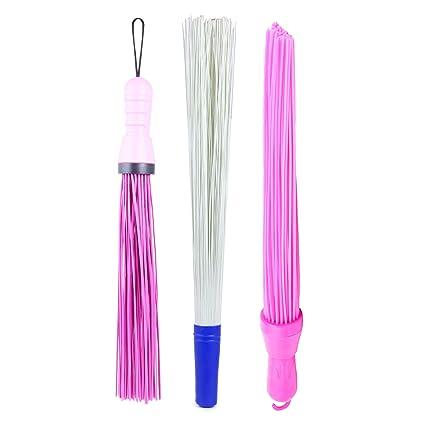 Kharata Plastic Hard Bristle Broom Combo Pack of 3