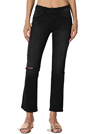 9476f80910ef3 TheMogan Junior s Faded Wash Slashed Knee Mid Rise Crop Boot Cut Jeans Black  1