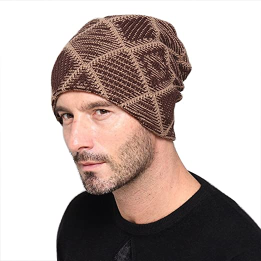 Hengzhi Men s Cool Winter Beanie Hats Fur Warm Lined Lattice Knitted Slouch  Caps at Amazon Men s Clothing store  21676c8a511