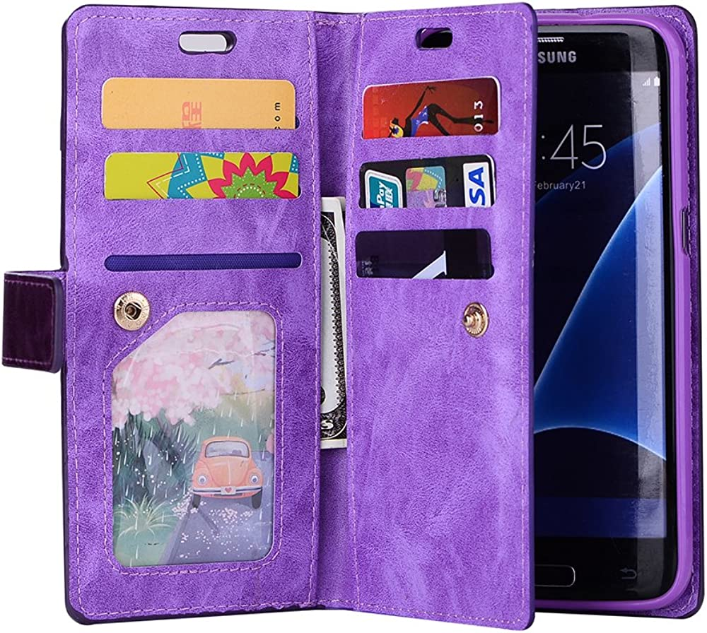 Leather photo /& wallet pocket 9 Card slots Galaxy S7 Edge Wallet Case
