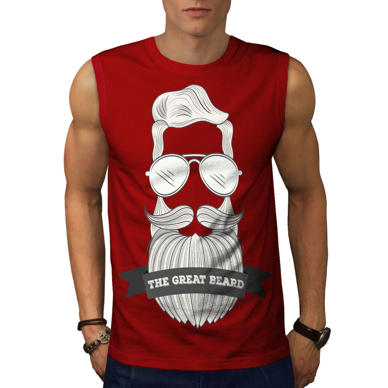 Wellcoda Hipster Beard Fashion Mens Sleevless T-shirt, Hairy Active Top Shirt