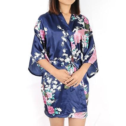 Amazon.com  uxcell Women s Printing Peacock Satin Robe e562be312