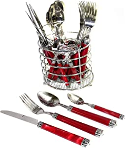 Nature Home Decor RE6125 Rainbow Elite Collection Flatware Set of 24-Piece Service of Six with Elegant Red Marble Design Resin Handles and Stainless Steel Storage Caddy