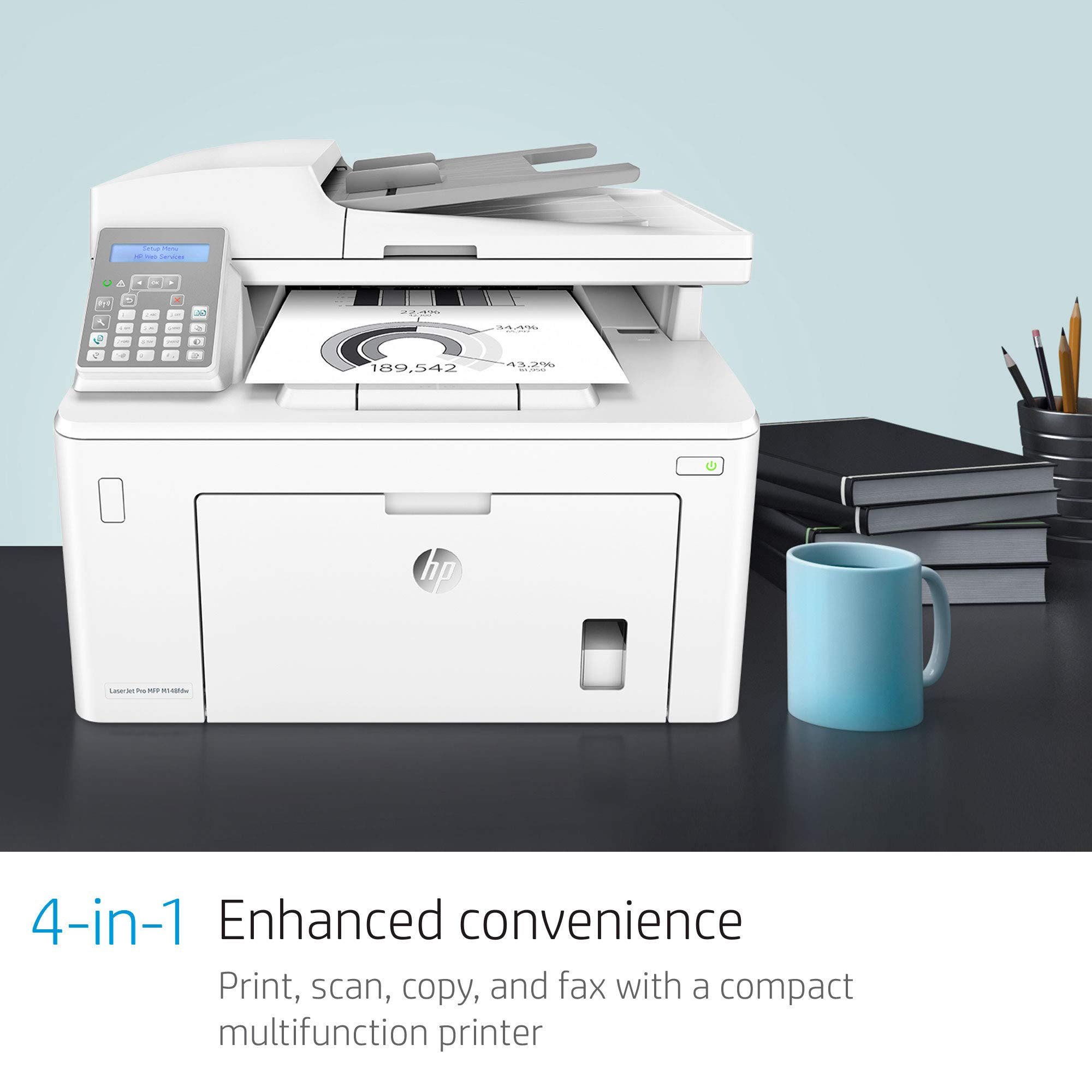 HP Laserjet Pro M148fdw All-in-One Wireless Monochrome Laser Printer with Auto Two-Sided Printing, Mobile Printing, Fax & Built-in Ethernet (4PA42A) by HP (Image #5)