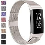 ZWGKKYGYH Compatible with Fitbit Charge 3 and Fitbit Charge 4 Bands Metal Mesh Stainless Steel Magnetic Band Replacement…