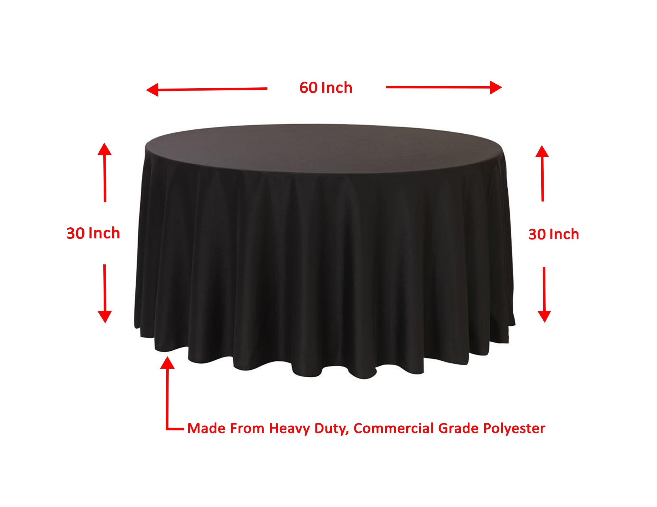 Spring Rose(TM) 120 Inch Black Polyester Round Tablecloth (set of 10).