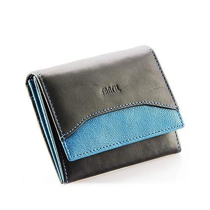 7ebd4c1a7535 Petit portefeuille en cuir véritable, portefeuille femme, portefeuille  fille N1663 NOIR BLEU