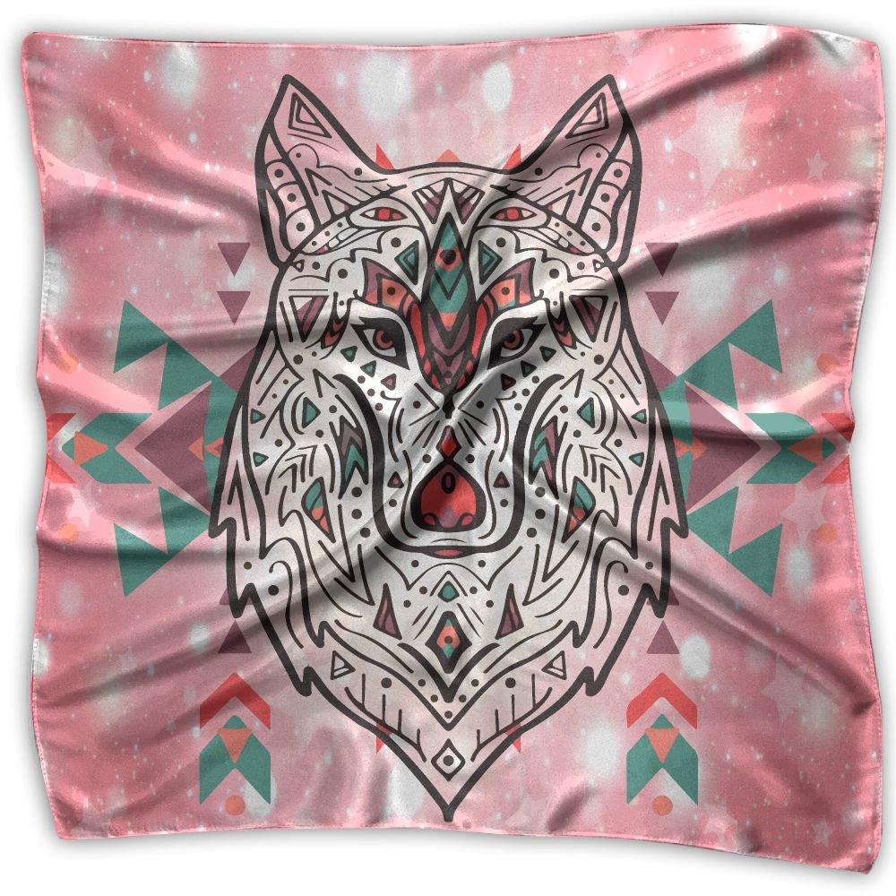 Native American Indian Wolf Tribal Women's Fashion Print Square Scarf Neckerchief Headdress M