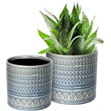 """Voeveca Ceramic Flower Pot Garden Planters 6.9"""" and 5.5"""" Set of 2 Indoor Outdoor, Modern Nordic Style Plant Containers"""