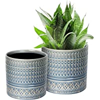 """Hotsung Ceramic Flower Pot Garden Planters 6.9"""" and 5.5"""" Set of 2 Indoor Outdoor, Modern Nordic Style Plant Containers"""