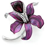 Glamorousky Purple Flower Brooch With Silver Austrian Element Crystal And  Purple CZ (4944)