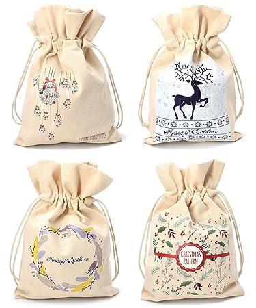 Amazon.com: Bolsa de yute de tela de Navidad, bolsa de ...