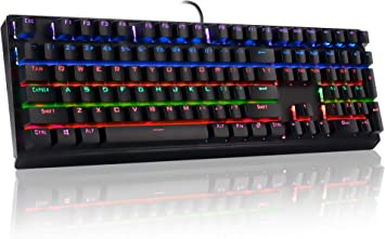 HLOIPYUR Backlit Gaming Mechanical Keyboard Blue Switches Anti-ghosting Luminous 87 LED Wired Keyboard Palm Rest Sticker