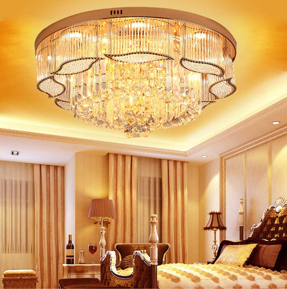 Kalri k9 crystal chandelier ceiling light flush mount luxury modern pendant lighting fixtures for living room bar shop diameter 31 5 amazon com