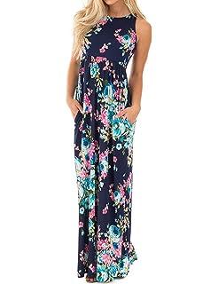 da1d8118ab59 Meaneor Women Empire Waist Maxi Dress Flowy Split Evening Gown Party ...