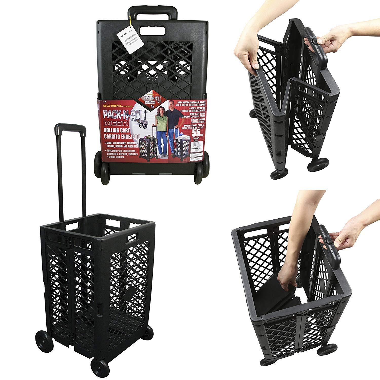 Plastic Portable Folding Trolley Shopping Cart - 35kg, Capacity 50L-L353249cm (Color : Orange) - - Amazon.com
