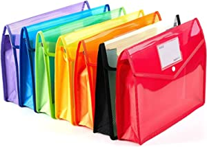 Yarachel Plastic File Wallet - 7 Pack Plastic Folders with Closure and Pockets Expandable Envelope Wallet Office File Folder for School Office Home Organization (Pack of 7)