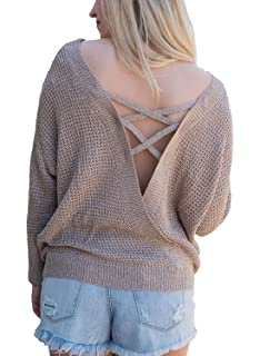 BLUETIME Women s Casual Long Sleeve Pullover Sweater Criss Cross Backless  Loose Knit Jumper cf2352bbc