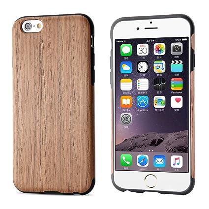 BELK Carcasa rígida de madera para iPhone 6S/para iPhone 6, carcasa híbrida de goma, ultra fina, para iPhone 6 & iPhone 6S (4,7