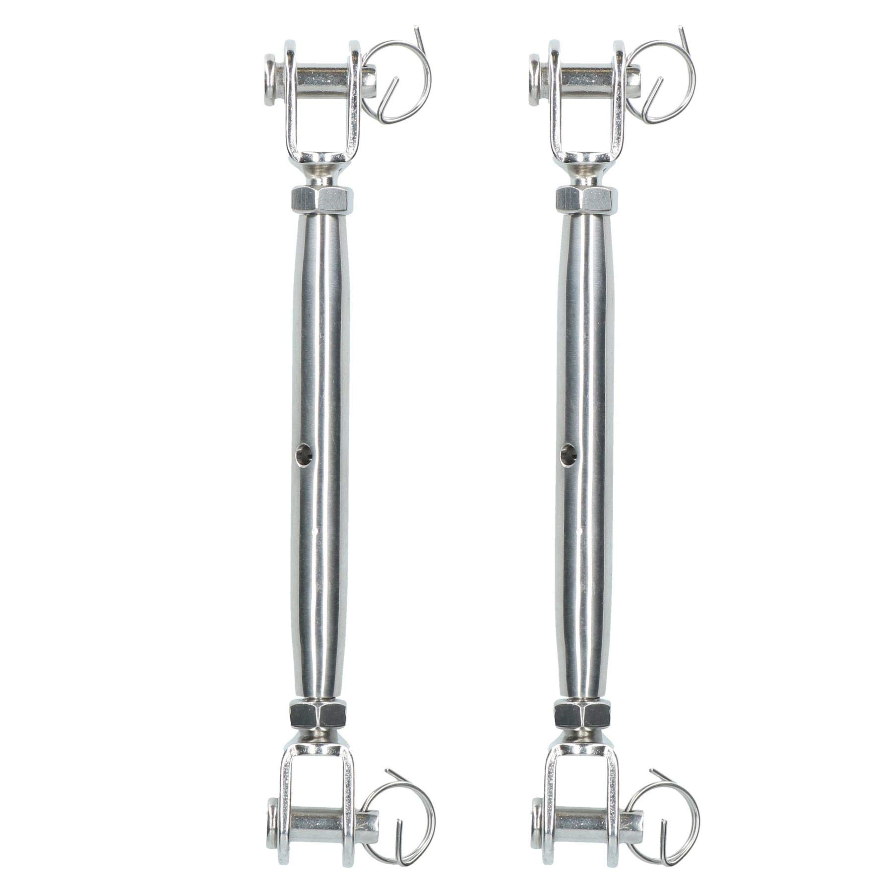 AB Tools-Deacon Rigging Screw 8mm Jaw to Jaw Turnbuckle Straining Marine Stainless 2 Pack by AB Tools-Deacon