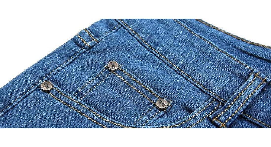 Fensajomon Mens Stretchy Slim Washed Straight Leg Summer Denim Shorts Jeans