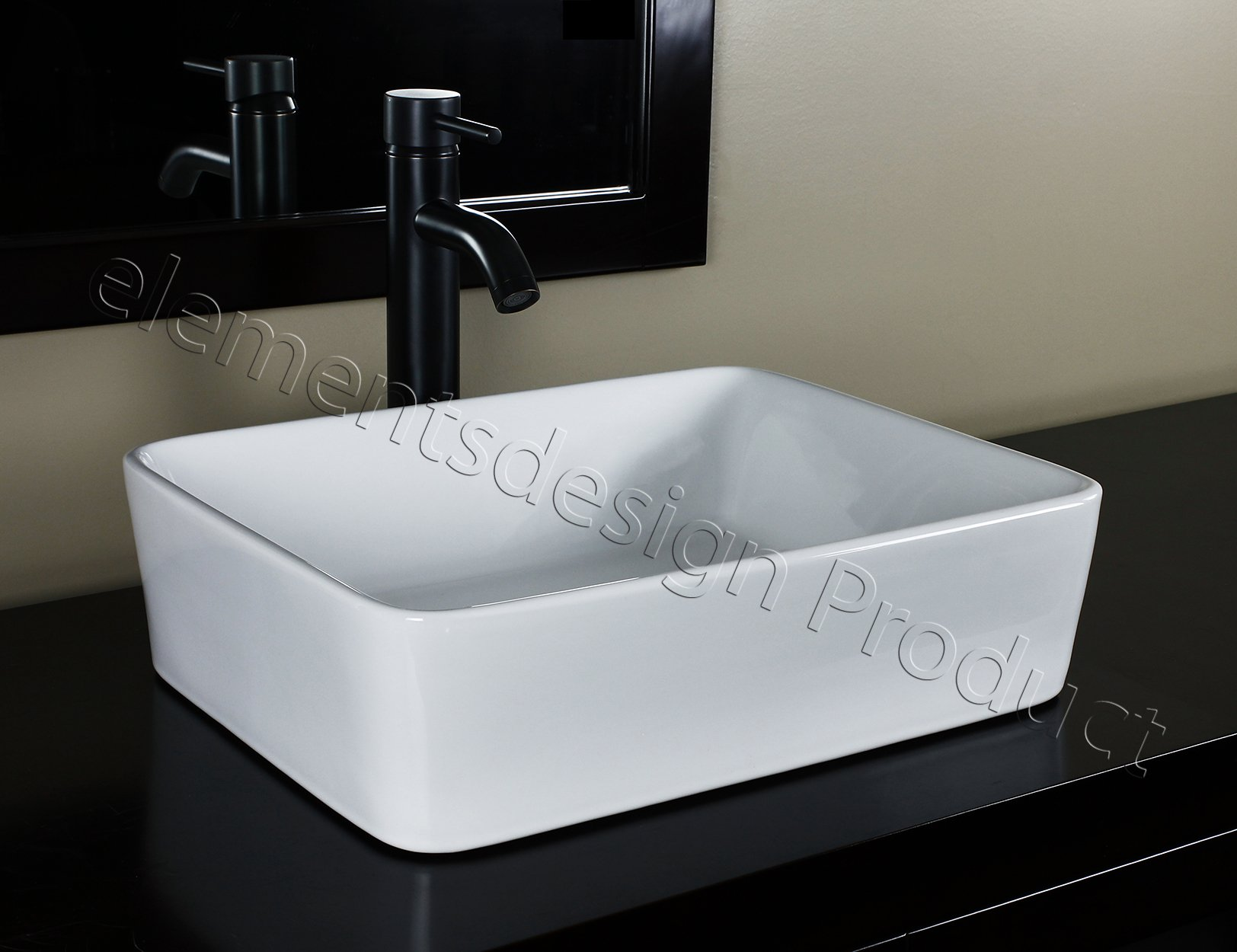 Bathroom Ceramic Porcelain Vessel Sink CV7050E3 Oil Rubbed Bronze Faucet Pop Up drain by ELIMAX'S