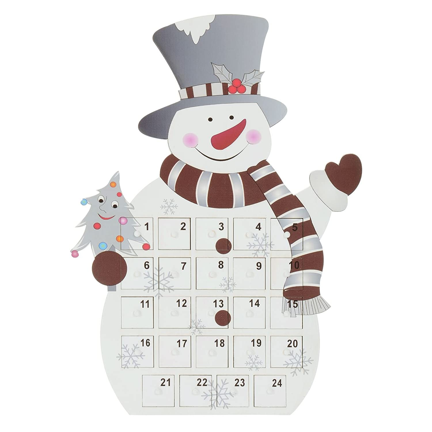 Mr Crimbo Standing Snowman Christmas Wooden Advent Calendar 24 Removable Trays Drawers Boxes Add Your Own Gift Sweet Treat Child XS-Stock.com Ltd