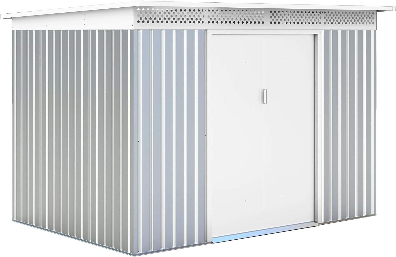 Gardiun KIS12136 - Caseta Metálica London 5, 71 m² Exterior 206x277x187 cm Acero Galvanizado Silver/Blanco: Amazon.es: Jardín