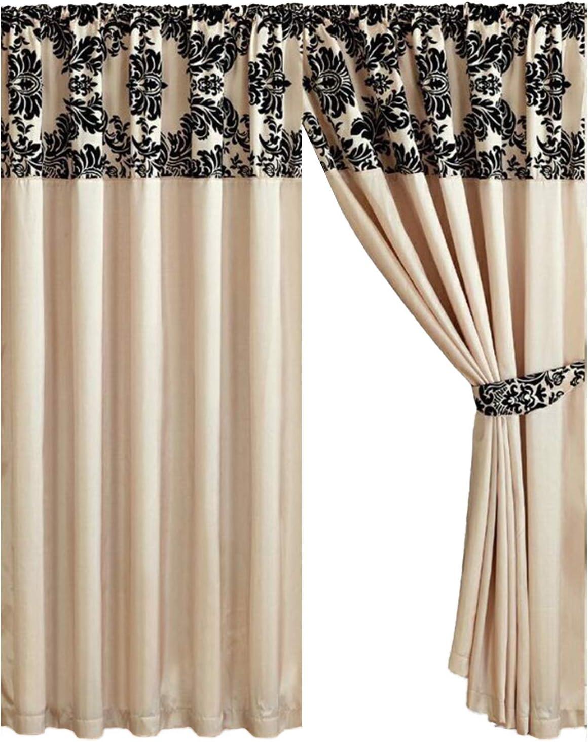 Half Flock Damask Pencil Pleat Curtains (90''x90''(228x228cm), Cream+Black):  Amazon.co.uk: Kitchen & Home
