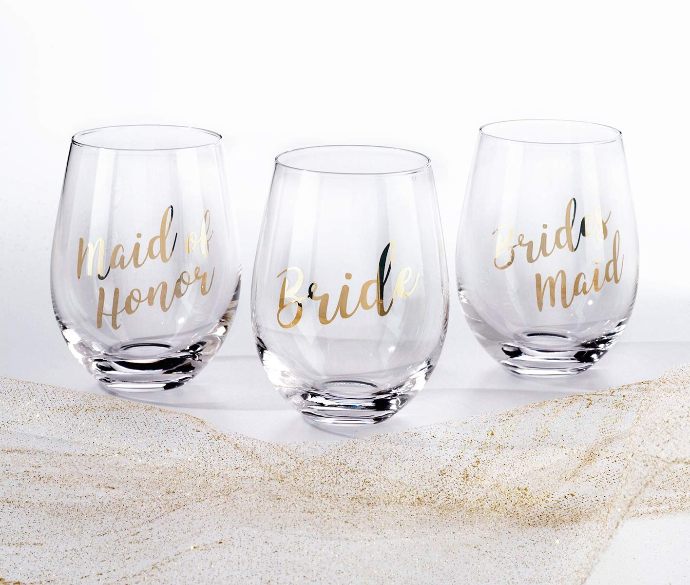Lillian Rose G115 MH Gold Maid of Honor Stemless Wine Glass, Height 4.75 inches by Lillian Rose (Image #2)