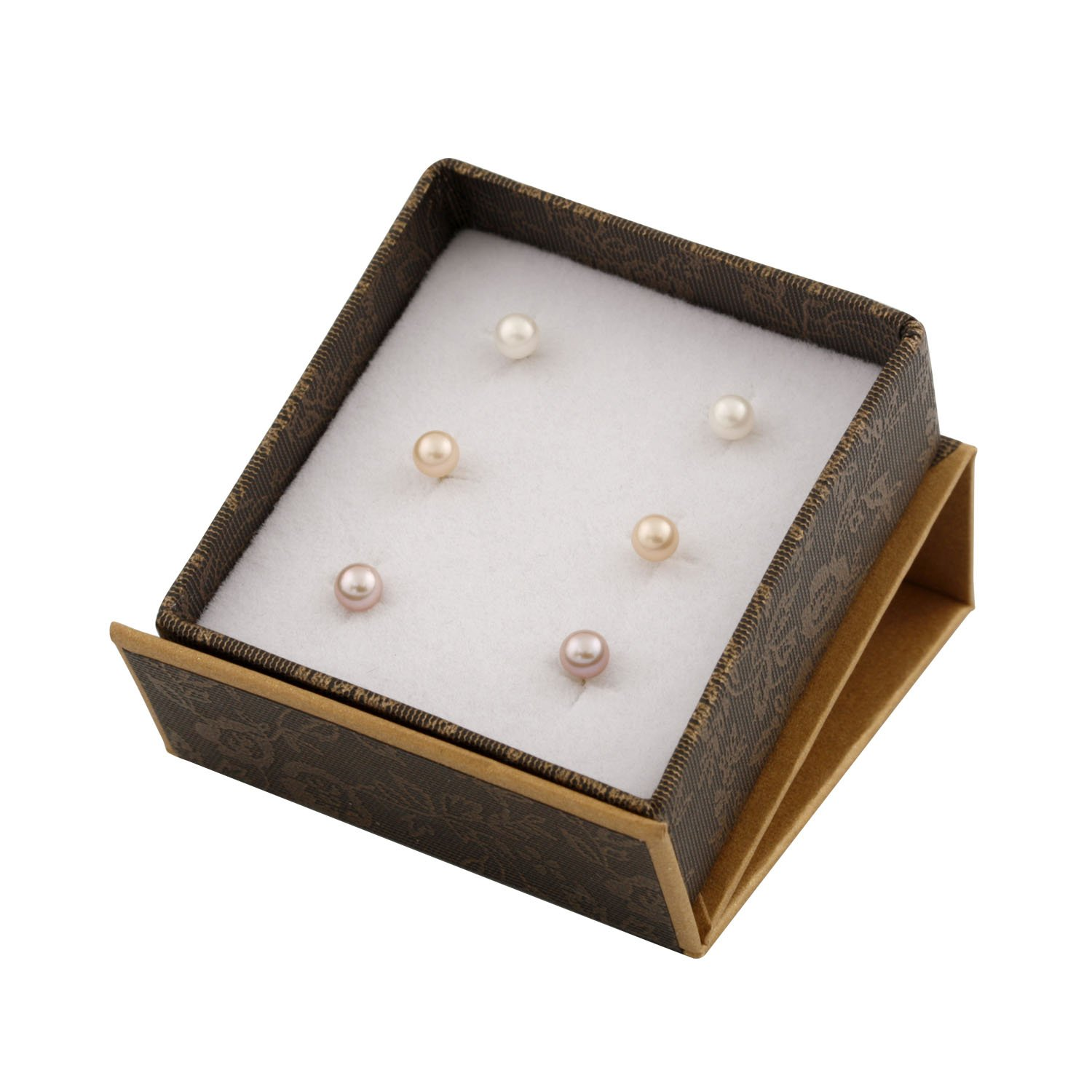 Set of 3 14k Yellow Gold Stud Ball Earrings 4-4.5mm Freshwater Cultured Pearl 14K YG Silicone Push Backs