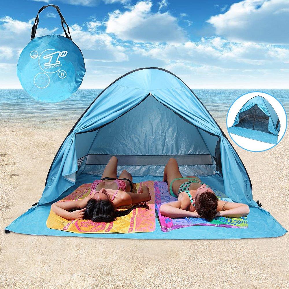With Zipper Door Pop Up Canopy Portable Beach Tent Outdoor Anti UV Shade Sun