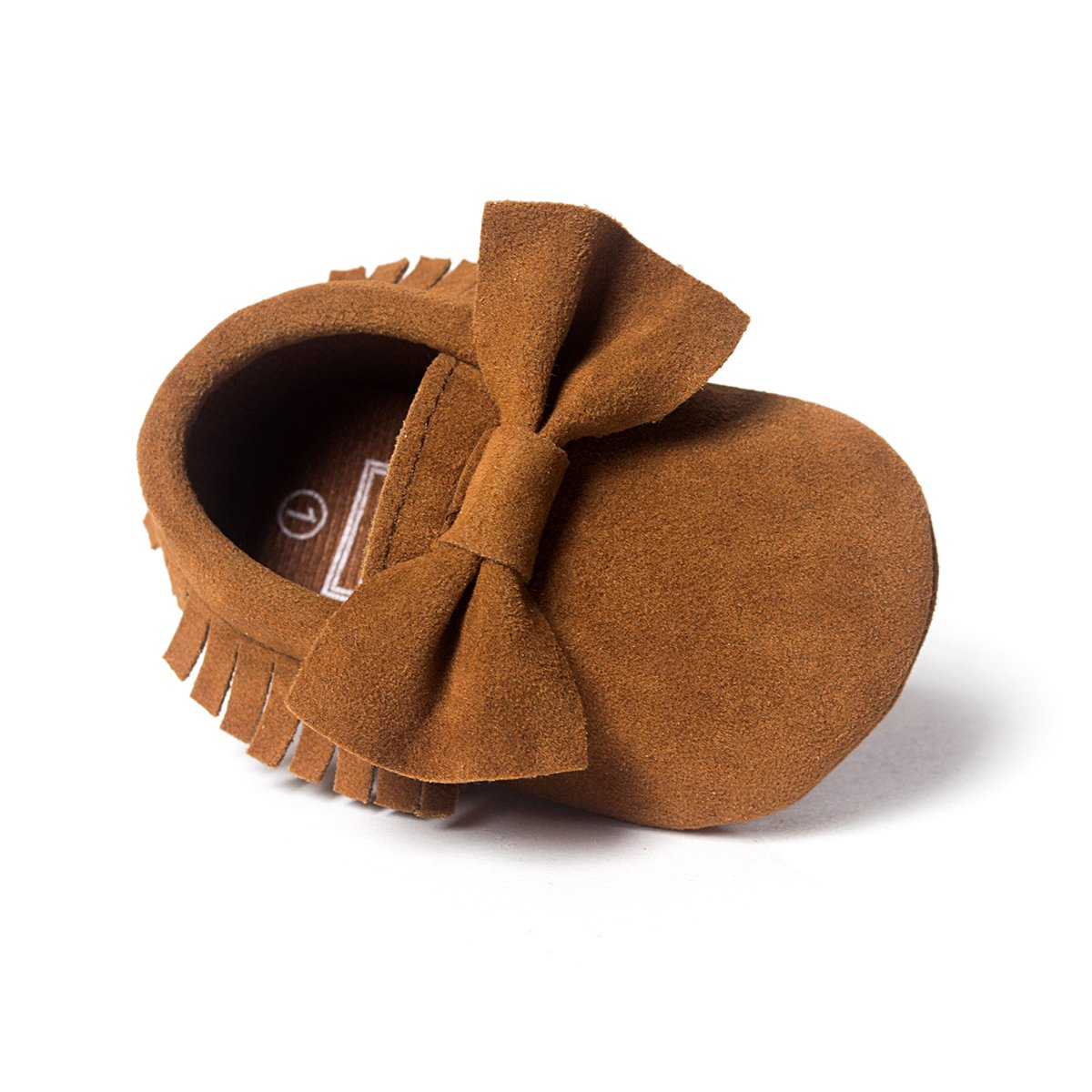 LIVEBOX Infant Baby Girls and Boys Premium Soft Sole Moccasins Tassels Prewalker Anti-Slip Toddler Shoes (M: 6~12 Months, Bow-Coffee)