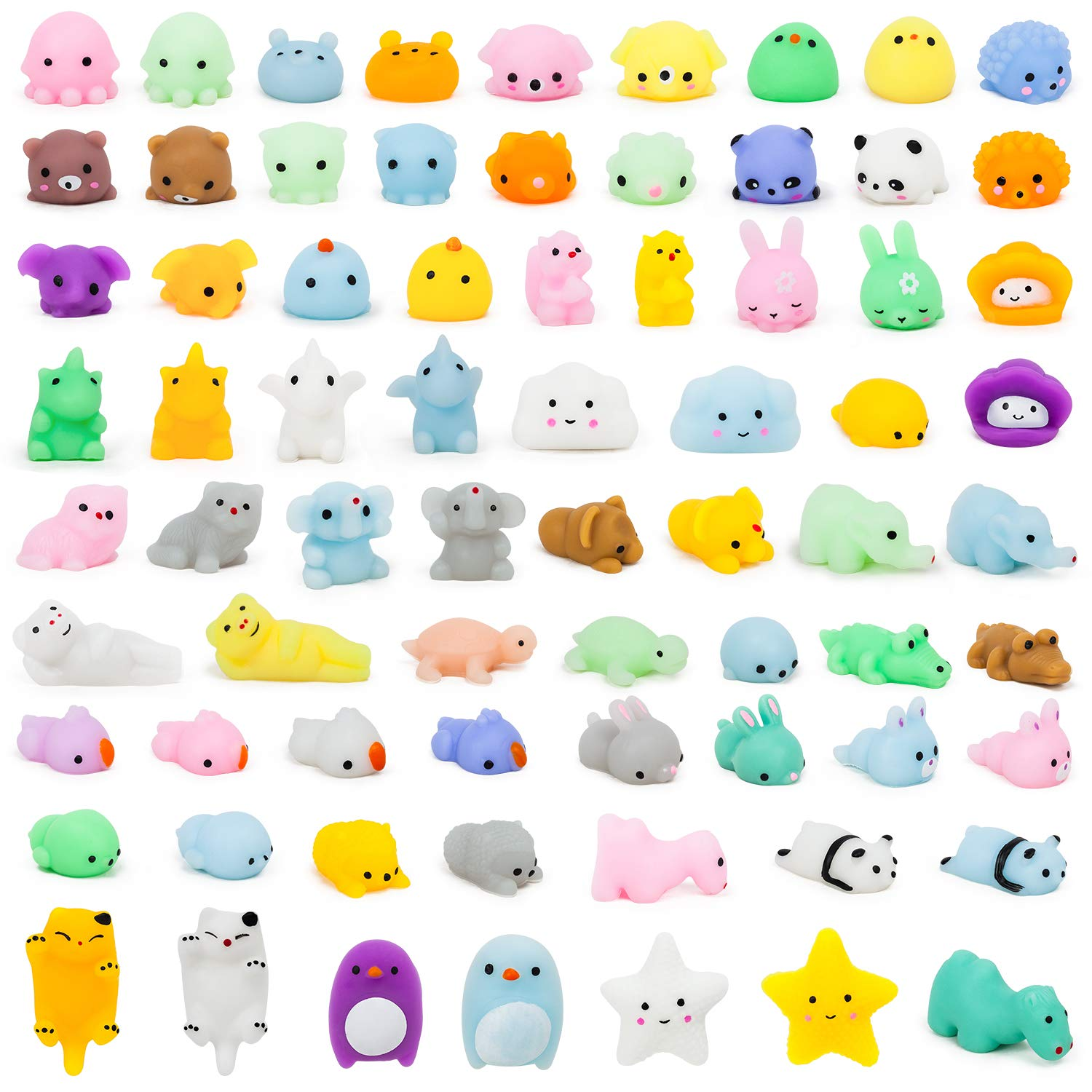 YIHONG 72 Pcs Kawaii Squishies, Mochi Squishy Toys for Kids Party Favors,Mini Stress Relief Toys for Easter Party Favors,Birthday Gift,Classroom Prize,Goodie Bag