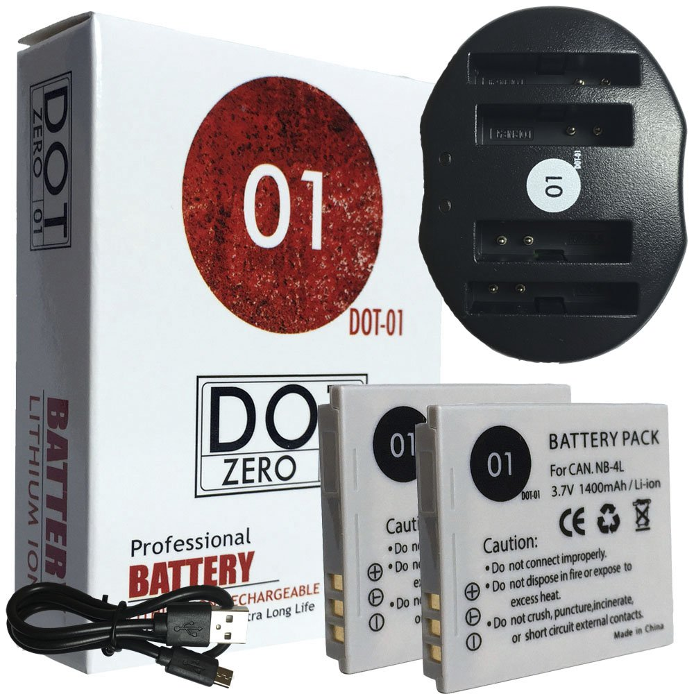 DOT-01 2X Brand 1400 mAh Replacement Canon NB-4L Batteries and Dual Slot USB Charger for Canon SD1000 Digital Camera and Canon NB4L by DOT-01 (Image #1)