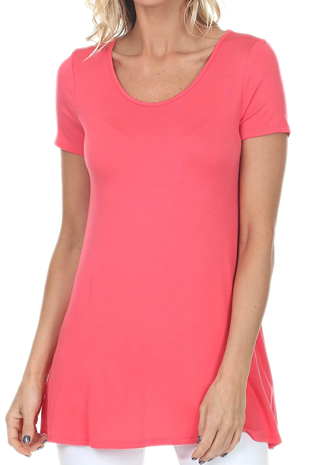 Coral coul J WT212 Women's Scoop Neck Short Sleeve Casual Plain Flowy Simple Swing Loose TShirt Dress Tunic Top